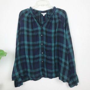 Lou & Grey green plaid button down shirt